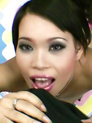 Sexy Thai slut named Nah sucks and fucks then takes a cum load in the mouth