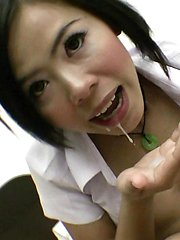 Hot Asian schoolgirl Gibsey sucks and fucks and gets a mouth full of cum