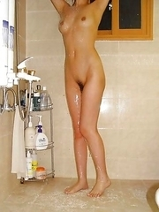 Wild Japanese honey strips naked while posing